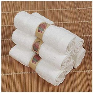 Six White Bamboo Washcloths